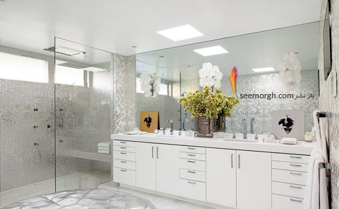 دکوراسیون داخلی,دکوراسیون داخلی خانه التون جان,التون جان,دکوراسیون داخلی ویلای التون جان Elton Jhon در بورلی هیلز - حمام با دکوراسیون سفید