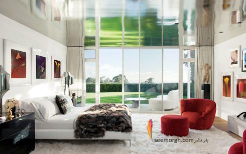 دکوراسیون داخلی,دکوراسیون داخلی خانه التون جان,التون جان,دکوراسیون داخلی ویلای التون جان Elton Jhon در بورلی هیلز - اتاق خواب با دکوراسیون سفید و قرمز