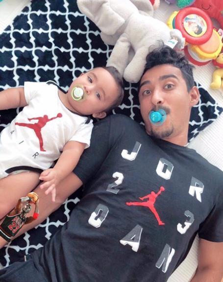عکس بامزه رضا قوچان نژاد و پسرش