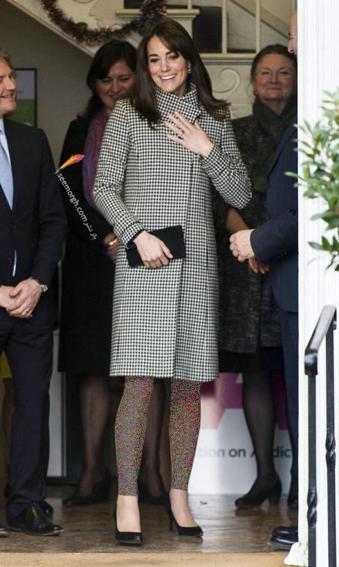 پالتو,مدل پالتو,پالتو پاییزی,مدل پالتو پاییزی,پالتو پاییزی به سبک کیت میدلتون Kate Middleton - پالتو چهارخانه سیاه و سفید