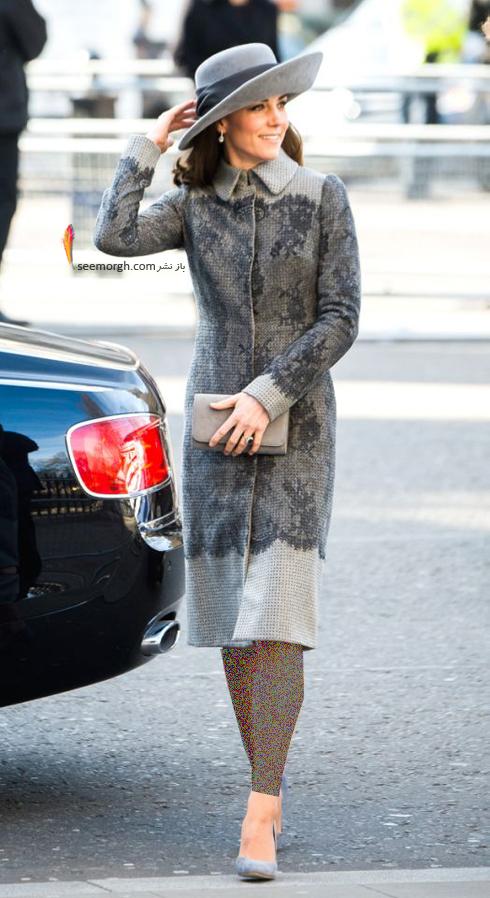 پالتو,مدل پالتو,پالتو پاییزی,مدل پالتو پاییزی,پالتو پاییزی به سبک کیت میدلتون Kate Middleton - پالتو طرح دار طوسی