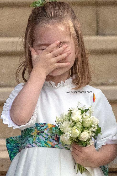 مراسم عروسی,مراسم عروسی نوه ملکه انگلیس,عکس هایی از مراسم عروسی نوه ملکه انگلیس,پرنسس شارلوت، فرزند دوم کیت میدلتون Kate Middleton در مراسم عروسی پرنسس اوژنی Eugenie