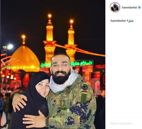 عکس حميد صفت و مادرش در کربلا