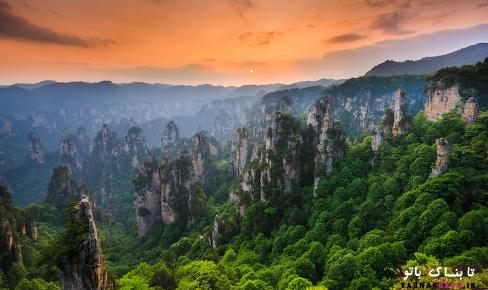 غروب آفتاب پارک جنگلي ملي ژانگجيجي (Zhangjiajie)