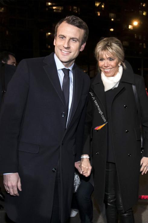 ست کردن پالتو,ست کردن پالتو رنگی,ست کردن پالتو رنگی برای پاییز,ست کردن پالتو مشکی با پلیور سفید به سبک بریژیت مکرون Brigitte Macron
