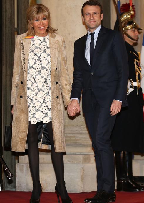 ست کردن پالتو,ست کردن پالتو رنگی,ست کردن پالتو رنگی برای پاییز,ست کردن پالتو کرم به سبک بریژیت مکرون Brigitte Macron