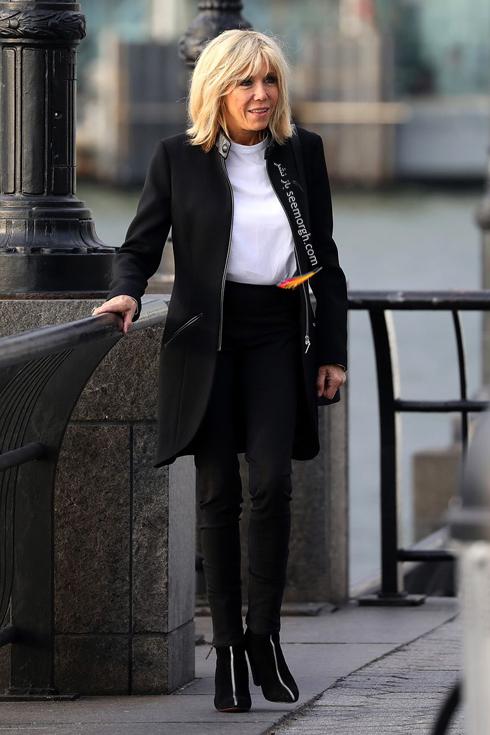ست کردن پالتو,ست کردن پالتو رنگی,ست کردن پالتو رنگی برای پاییز,ست کردن پالتو مشکی با بلوز سفید به سبک بریژیت مکرون Brigitte Macron
