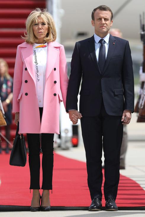 ست کردن پالتو,ست کردن پالتو رنگی,ست کردن پالتو رنگی برای پاییز,ست کردن پالتو صورتی به سبک بریژیت مکرون Brigitte Macron
