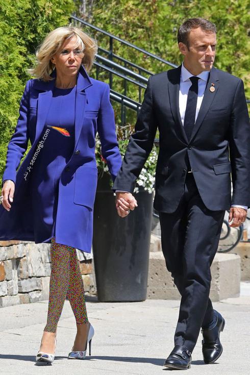 ست کردن پالتو,ست کردن پالتو رنگی,ست کردن پالتو رنگی برای پاییز,ست کردن پالتو آبی لاجوردی به سبک بریژیت مکرون Brigitte Macron