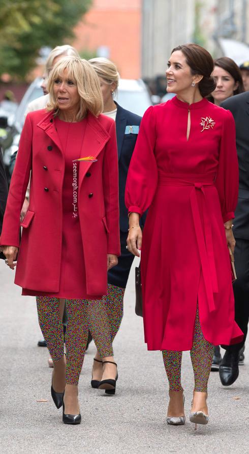 ست کردن پالتو,ست کردن پالتو رنگی,ست کردن پالتو رنگی برای پاییز,ست کردن پالتو قرمز روشن به سبک بریژیت مکرون Brigitte Macron
