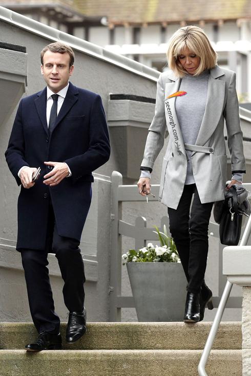 کت و شلوار,ست کردن کت و شلوار,کت و شلوار زنانه,ست کردن کت و شلوار برای پاییز,ست کردن کت طوسی روشن با شلوار مشکی به سبک بریژیت مکرون Brigitte Macron