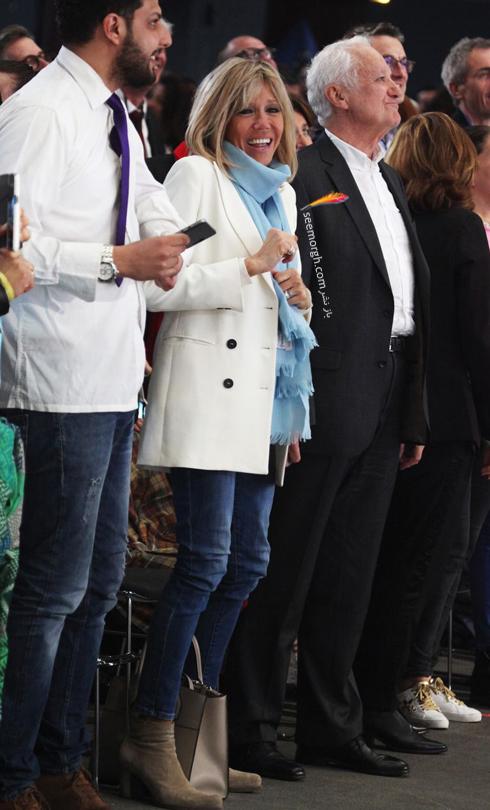 کت و شلوار,ست کردن کت و شلوار,کت و شلوار زنانه,ست کردن کت و شلوار برای پاییز,ست کردن کت سفید با شلوار جین به سبک بریژیت مکرون Brigitte Macron