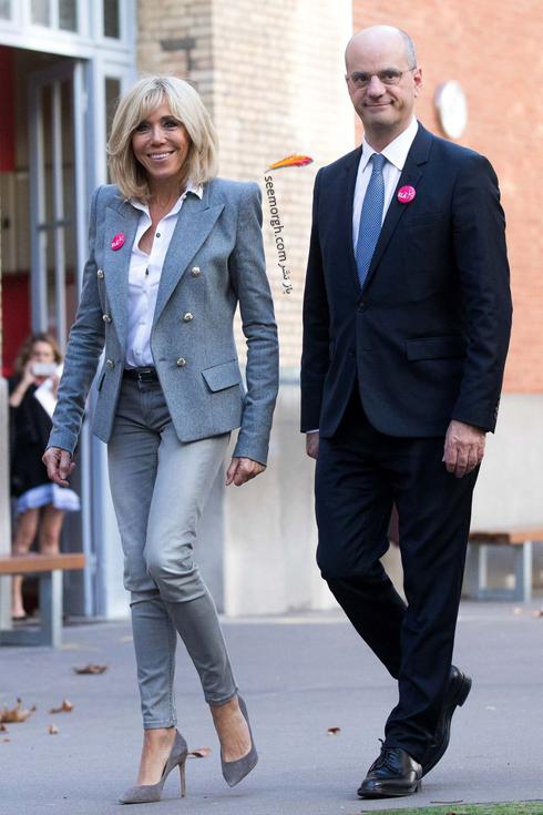 کت و شلوار,ست کردن کت و شلوار,کت و شلوار زنانه,ست کردن کت و شلوار برای پاییز,ست کردن کت طوسی با شلوار جین به سبک بریژیت مکرون Brigitte Macron