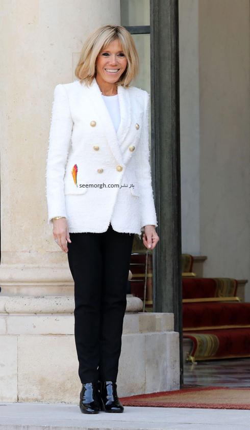 کت و شلوار,ست کردن کت و شلوار,کت و شلوار زنانه,ست کردن کت و شلوار برای پاییز,ست کردن کت سفید با شلوار مشکی به سبک بریژیت مکرون Brigitte Macron