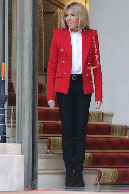کت و شلوار,ست کردن کت و شلوار,کت و شلوار زنانه,ست کردن کت و شلوار برای پاییز,ست کردن کت قرمز با شلوار مشکی به سبک بریژیت مکرون Brigitte Macron