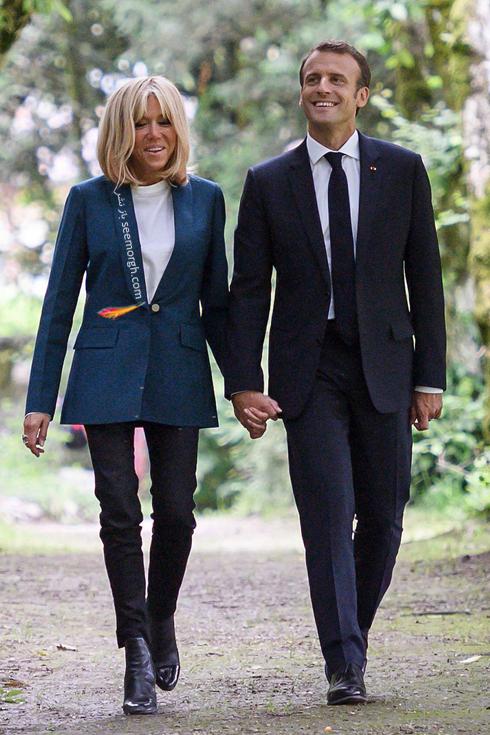 کت و شلوار,ست کردن کت و شلوار,کت و شلوار زنانه,ست کردن کت و شلوار برای پاییز,ست کردن کت آبی نفتی با شلوار مشکی به سبک بریژیت مکرون Brigitte Macron