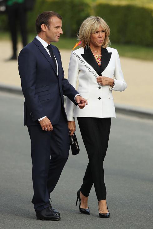 کت و شلوار,ست کردن کت و شلوار,کت و شلوار زنانه,ست کردن کت و شلوار برای پاییز,ست کردن کت طوسی سفید با شلوار مشکی به سبک بریژیت مکرون Brigitte Macron