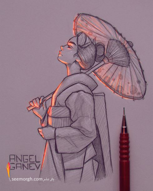 تصویر سازی,نقاشی,طراحی دختر,Angel Ganev