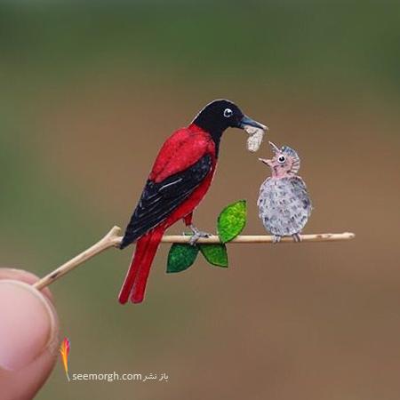 پرندگان مینیاتوری,اریگامی,هنر با کاغذ,آثار هنری کوچک