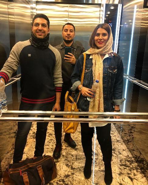 سحر دولتشاهی و اشکان خطیبی در کنار نوید محمدزاده در یک آسانسور