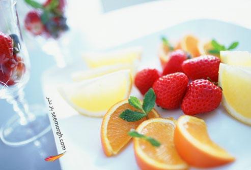 میوه پرتقال و توت فرنگی