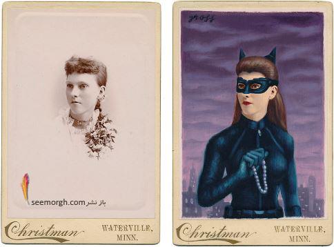 عکس قدیمی,عکس ویکتوریایی,ابرقهرمان,هالیوود,نقاشی,Alex Gross,catwoman