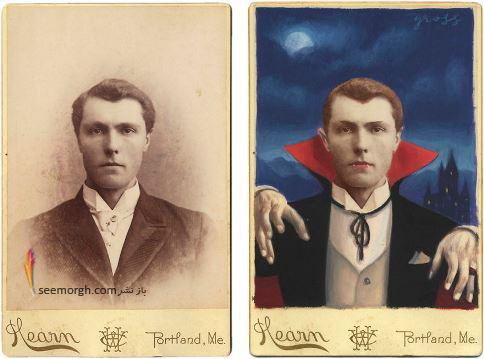 عکس قدیمی,عکس ویکتوریایی,ابرقهرمان,هالیوود,نقاشی,Alex Gross,دراکولا