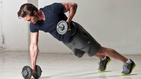 ورزش پلانک با دمبل