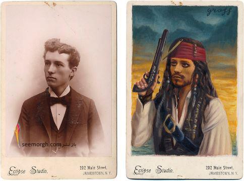 عکس قدیمی,عکس ویکتوریایی,ابرقهرمان,هالیوود,نقاشی,Alex Gross,جانی دپ,جک اسپارو