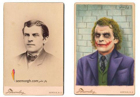 عکس قدیمی,عکس ویکتوریایی,ابرقهرمان,هالیوود,نقاشی,Alex Gross,جوکر