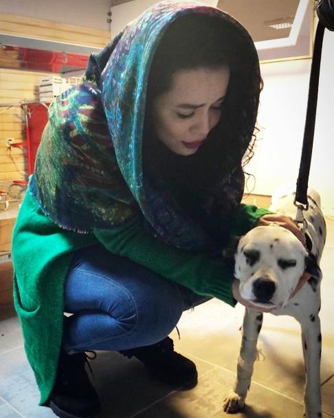 عکس ملیکا شریفی نیا با سگ خالدار
