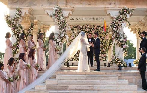مراسم عروسی,مراسم عروسی پریانکا چوپرا,ازدواج,ازدواج پریانکا چوپرا,نیک جوناس,پریانکا چوپرا و نیک جوناس,لباس عروس پریانکا چوپرا Priyanka Chopra با تور سر 22 متری از طراحی های رالف لورن Ralph Lauren