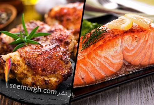 گوشت مرغ,گوشت ماهی