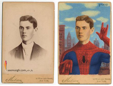 عکس قدیمی,عکس ویکتوریایی,ابرقهرمان,هالیوود,نقاشی,Alex Gross,اسپایدرمن