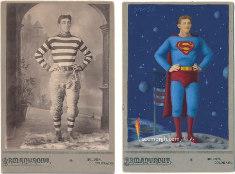 عکس قدیمی,عکس ویکتوریایی,ابرقهرمان,هالیوود,نقاشی,Alex Gross,سوپرمن