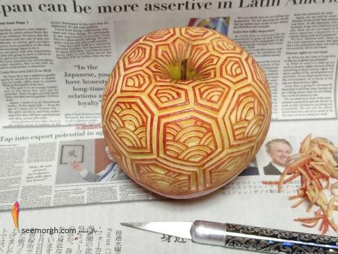 کنده کاری,کنده کاری روی سیب,کنده کاری روی میوه ها,میوه وسبزیجات,Takehiro Kishimoto