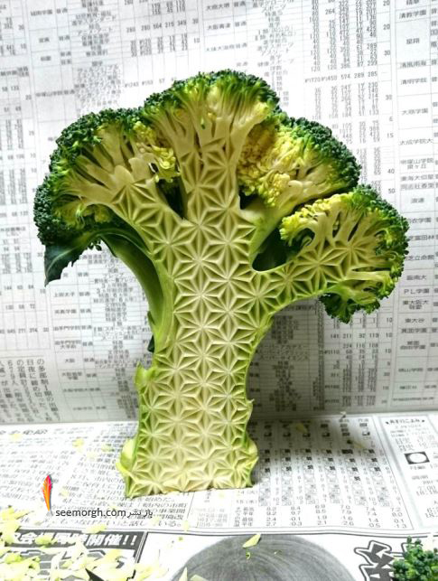 کنده کاری,کنده کاری روی میوه ها,کلم بروکلی,میوه وسبزیجات,Takehiro Kishimoto
