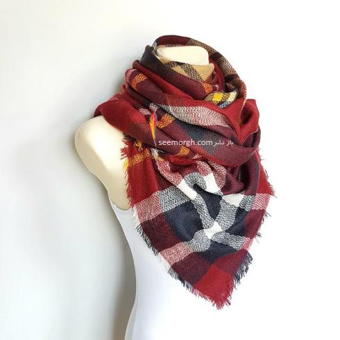 شال پشمي,روسري پشمي,بستن شال پشمي,بستن روسري پشمي,جديدترين مدل روسري هاي پشمي چهارخانه