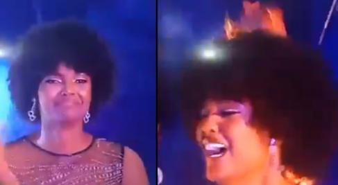 لحظه آتش گرفتن مو های برنده تاج ملکه زیبایی
