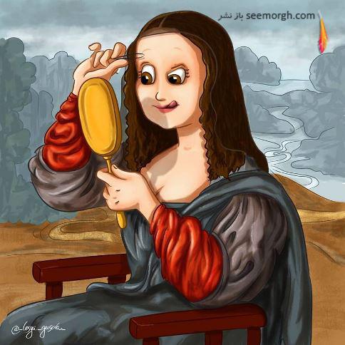 مونالیزا,ابرو برداشتن,نقاشی,Lesya Guseva
