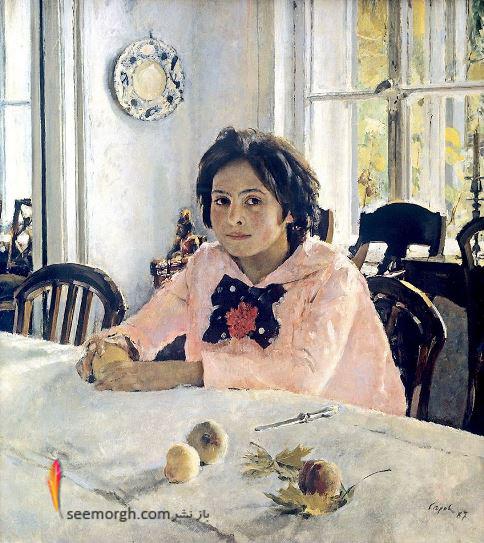 نقاشی,نقاشی دختری با هلوها,نقاشی مشهور,نقاش مشهور,Valentin Serov