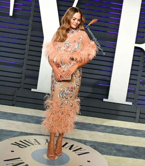 مدل لباس,مدل لباس در ميهماني بعد از اسکار,مدل لباس در ميهماني مجله ونتي فير,مدل لباس کريسي تيگن Chrissy Teigen در ميهماني بعد از اسکار 2019 Oscar