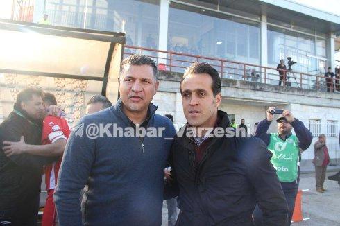 علی دایی و علی کریمی پیش از بازی تیم هایشان