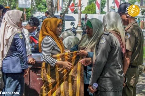 برخورد با زنان بدحجاب در آچه اندونزی