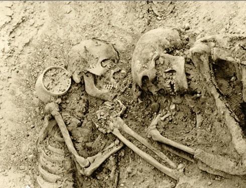 بقایای اسکلت زوج زن و مردی در شهر سوخته