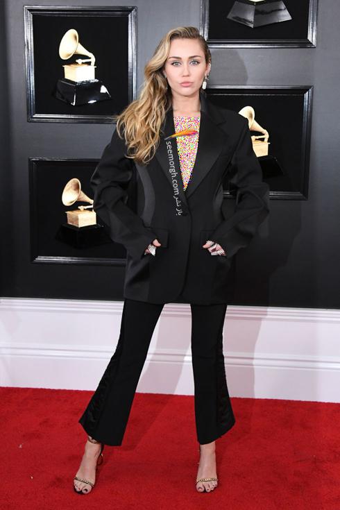 مدل لباس,مدل لباس در جایزه گرمی,جایزه گرمی 2019,مدل لباس در جایزه گرمی 2019,مدل لباس مایلی سایرس Miley Cyrus در جایزه گرمی 2019 Grammy Awards