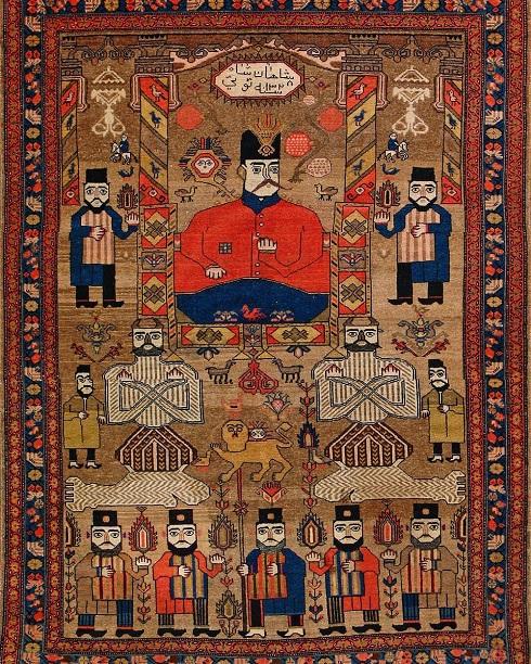 تصویر ناصرالدین شاه در میان نقوش باستانی هوشنگ شاهی روی فرش