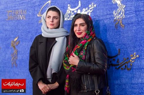 لیلا حاتمی و نسیم ادبی در اکران فیلم «مردی بدون سایه» جشنواره فجر 97
