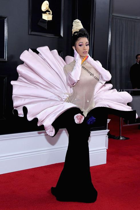 مدل لباس,جايزه گرمي,مدل لباس در جايزه گرمي,عجيب ترين لباس ها در جايزه گرمي,مدل لباس کاردي بي Cardi B در جايزه گرمي 2019 Grammy Awards