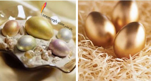 تزیین تخم مرغ هفت سین برای نوروز با اسپری طلایی یا نقره ای,تزیین تخم مرغ,تزیین تخم مرغ هفت سین,مدل های تزیین تخم مرغ هفت سین